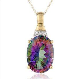 Jewelry - 10k Gold Mystic Fire Topaz & Diamond Necklace